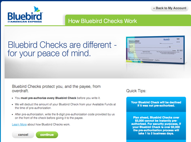 AMEX Bluebird-Free Checks and Check Writing