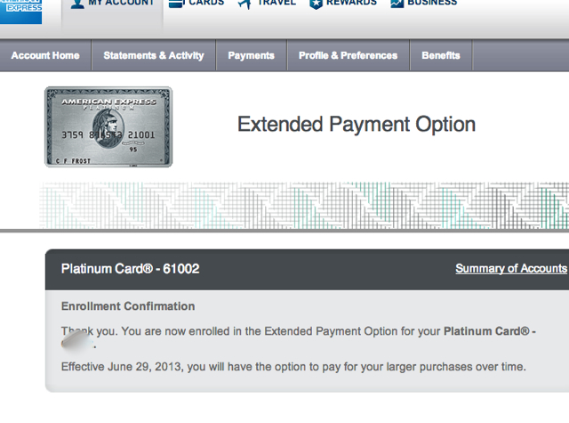 10,000 AMEX Membership Rewards Points for Extended Payment Enrollment-Confirmation