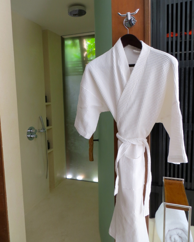 Park Hyatt Maldives Review - Indoor Rain Shower and Bathrobe
