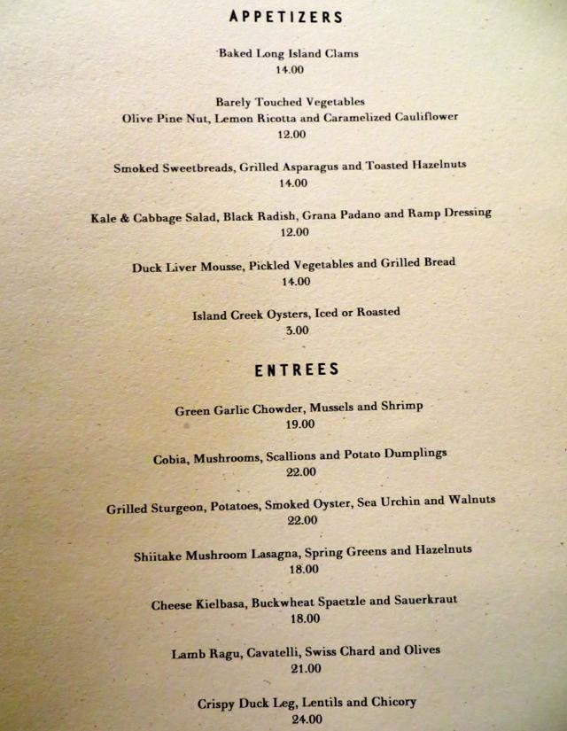 Gramercy Tavern Restaurant Nyc Menu