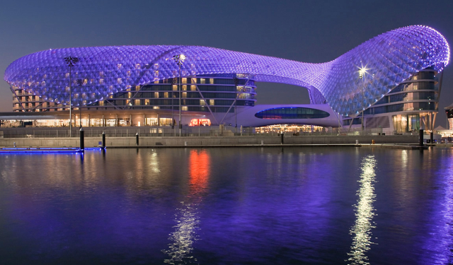 Yas Viceroy Abu Dhabi Hotel Review - Illuminated at Night