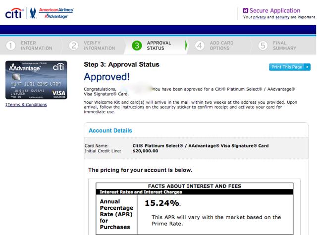 Citi AAdvantage Platinum Select Visa Approved