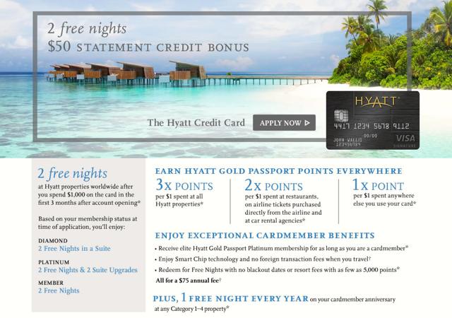 Hyatt Visa Best Hotel Credit Card Signup Bonus: 2 Free Nights and $50 Statement Credit