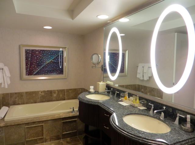 bellagio las vegas hotel review bathroom with dual vanities soaking