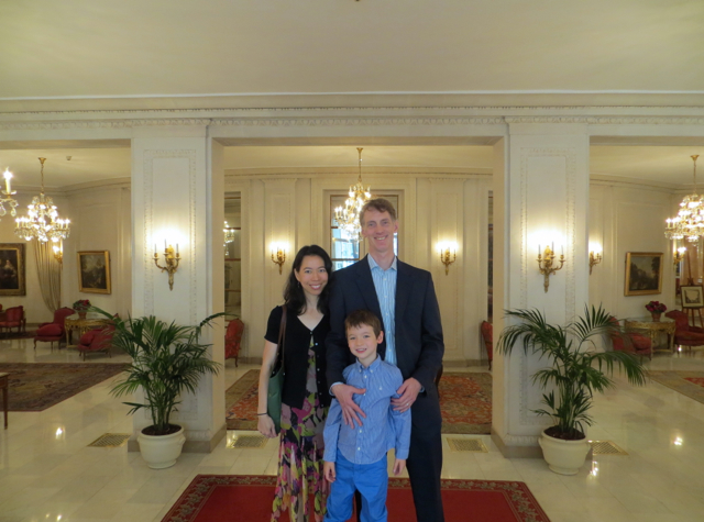 Epicure at Le Bristol Paris Restaurant Review - Family Photo in the Lobby