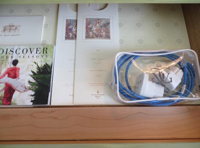 Four Seasons Paris Review - Power Adapters in Desk Drawer