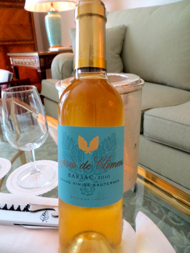 Four Seasons Paris Review - Bottle of Sauternes