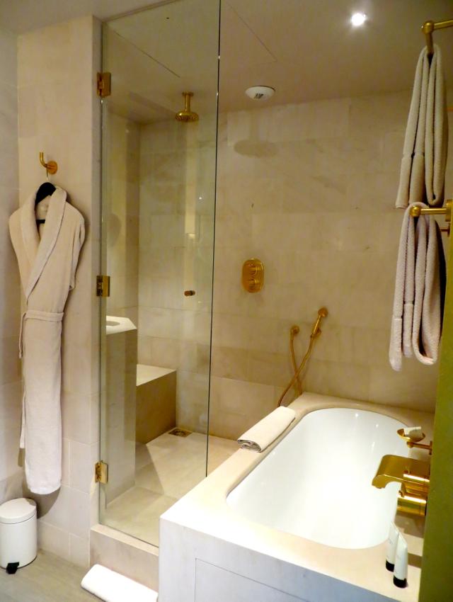 Park Hyatt Paris Vendome Review - Park Deluxe Room Bathroom Shower and Soaking Bath