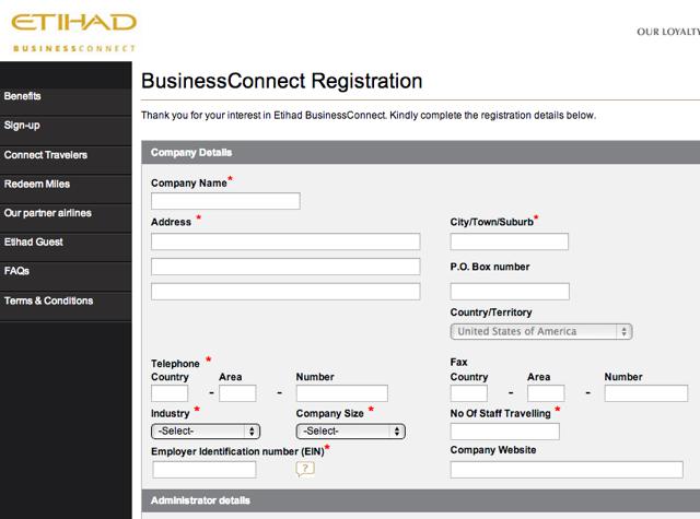 Etihad 20k bonus miles for new etihad businessconnect account 10k in