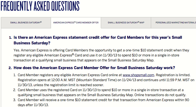 AMEX Small Business Saturday $10 Statement Credit FAQ
