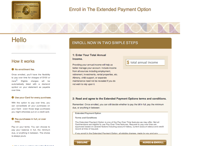 10,000 AMEX Membership Rewards Points for Extended Payment - Enrollment Form