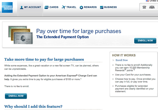 10,000 AMEX Membership Rewards Points to Enroll in Extended Payment Option