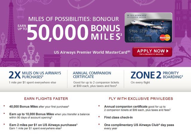 US Airways Credit Card Offers