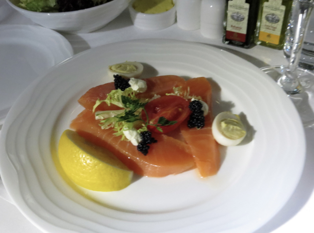 Emirates First Class A380 Review - Loch Fyne Salmon, Caviar and Quails Eggs