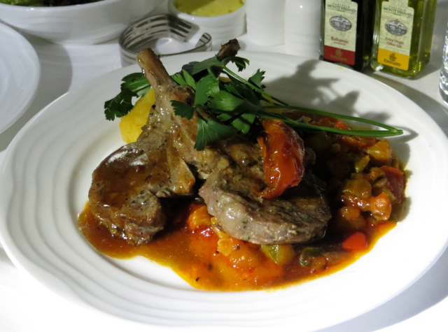 Emirates First Class A380 Review - Grilled Rack of Lamb and Ratatouille