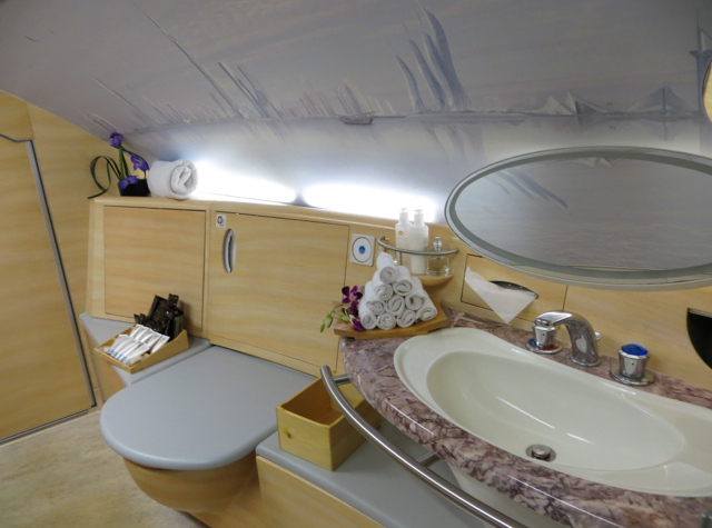 Emirates First Class A380 Review - First Class Bathroom