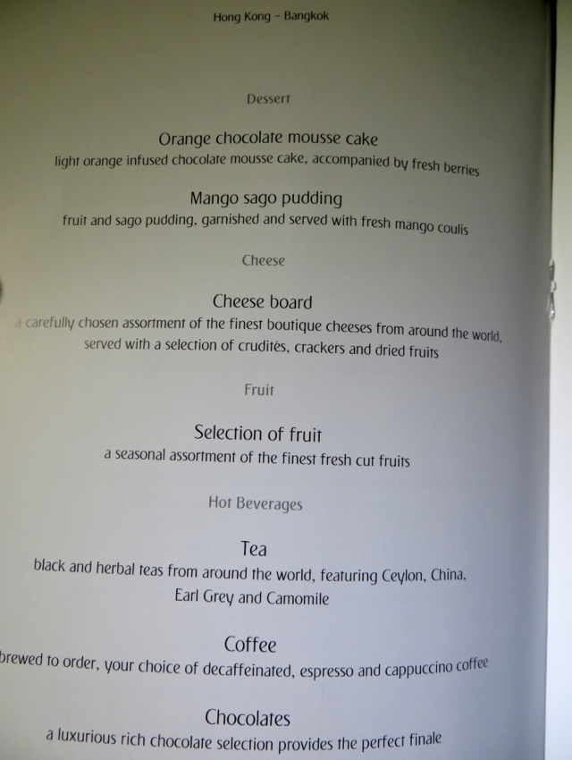 Emirates First Class A380 Review - Dessert Menu