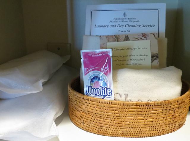 Four Seasons Hualalai - Woolite and Complimentary Shoe Polishing