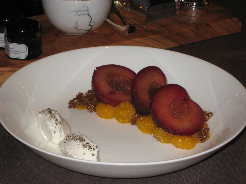 """Park Hyatt New York Breakfast: Vanilla Poached """"Apricots"""" with Granola and Lebne"""