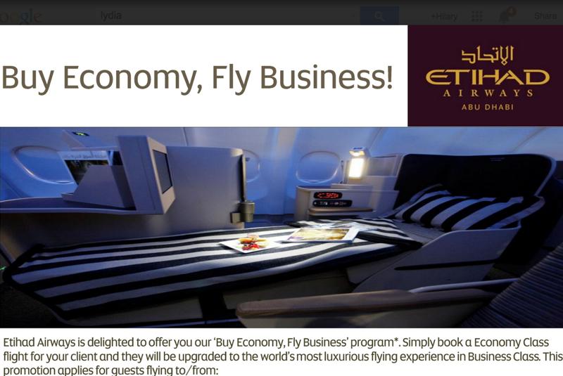 Etihad: Buy Economy, Fly Business Class Deal
