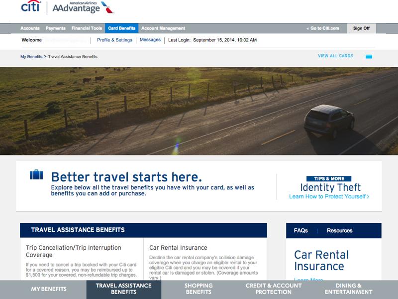 Citi Aadvantage Credit Card Travel Insurance