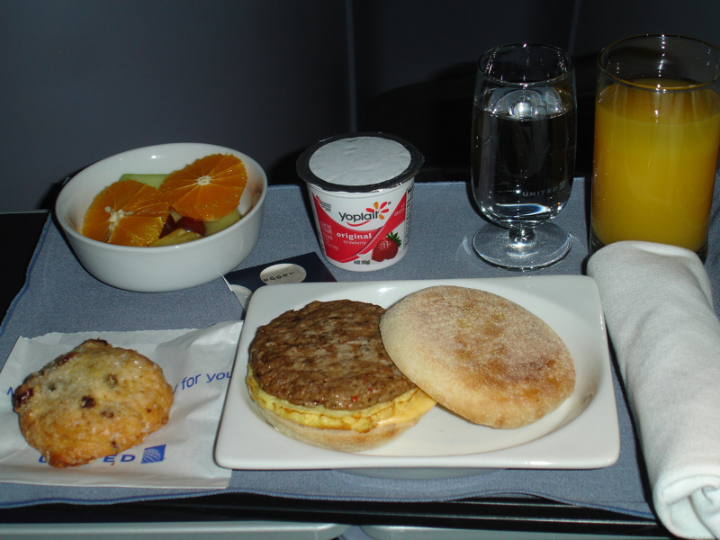 United First Class Review - Breakfast