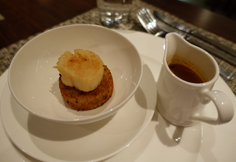 British Airways First Class Lounge NYC JFK - Seared Scallop Appetizer