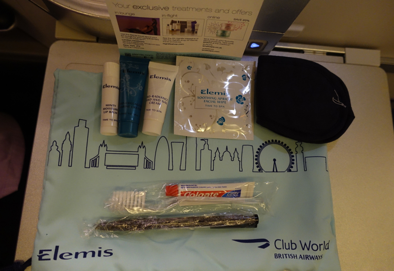 British Airways Business Class Review: Elemis Amenity Kit