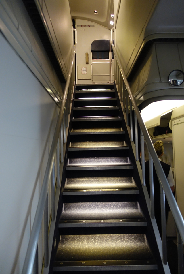British Airways Business Class Review on 747: Stairs to Upper Deck
