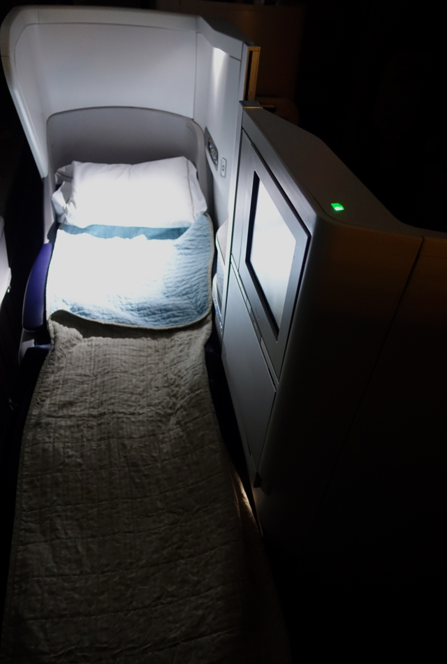 British Airways Business Class Flat Bed with Pillow and Duvet