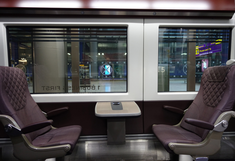 Heathrow Express Business First Table and Seating