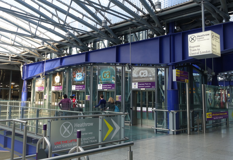 Elevators (Lifts) to Heathrow Express Trains