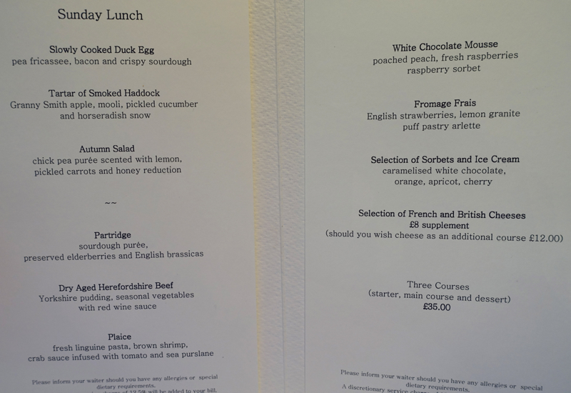 Launceston Place London Menu
