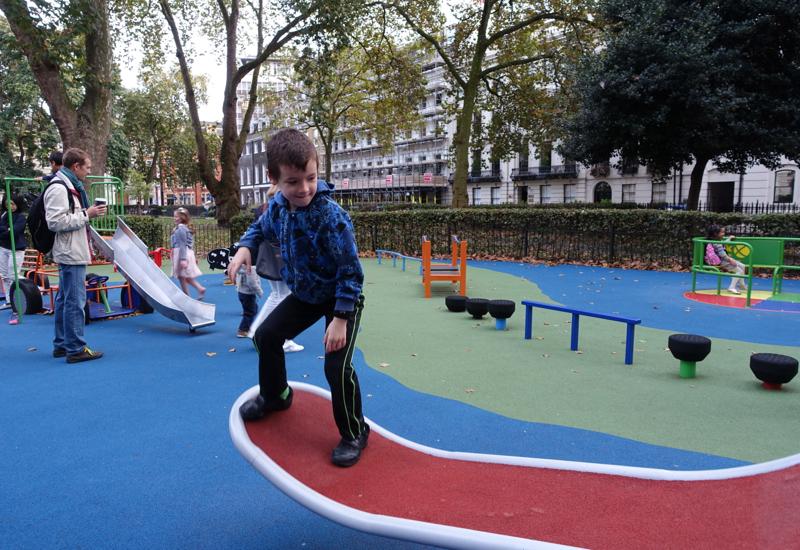 Playing at Bloomsbury Square Playground Near British Musem