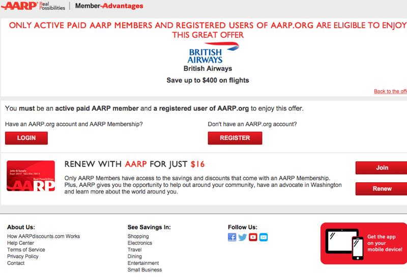 AARP $400 Off British Airways Business Class Roundtrip Flights