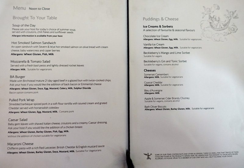 British Airways First Class Lounge Review: Pre-Flight Dining Menu