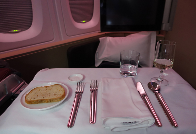 Qantas First Class A380 Review - Table Setting and Carrot Cumin Bread