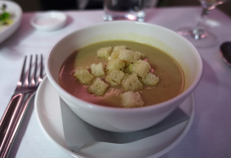 Qantas First Class A380 Review - Chestnut Soup with Croutons and Creme Fraiche