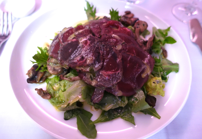 Qantas First Class A380 Review: Venison Carpaccio with Sauteed Wild Mushrooms