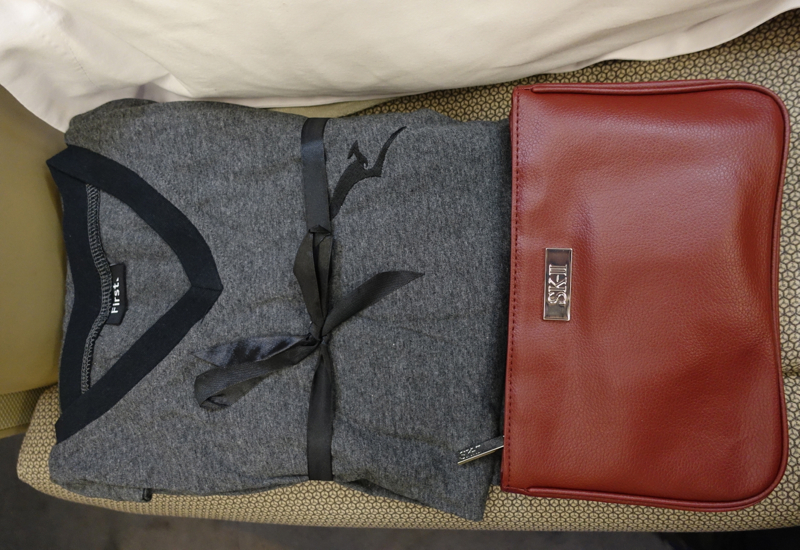 Qantas First Class A380 Review - Pajamas and Amenity Kit