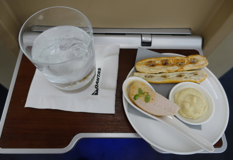 Qantas First Class A380 Review - Pre-Flight Drink and Canapes