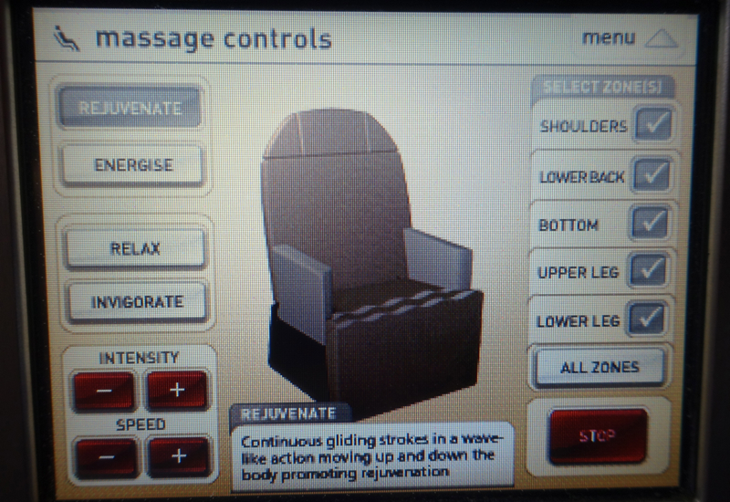 Qantas First Class A380 Review - Massage Controls