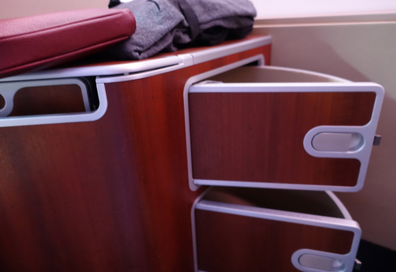 Qantas First Class A380 Review - Seat Storage Compartments