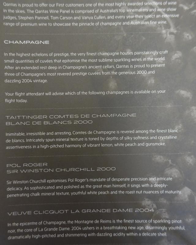 Qantas First Class A380 Champagne List