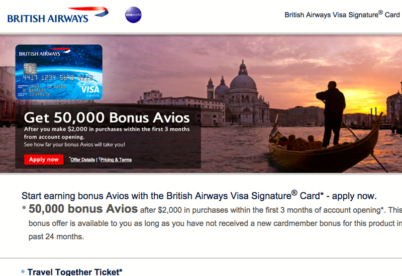 50K British Airways Visa with Annual Fee Waived First Year