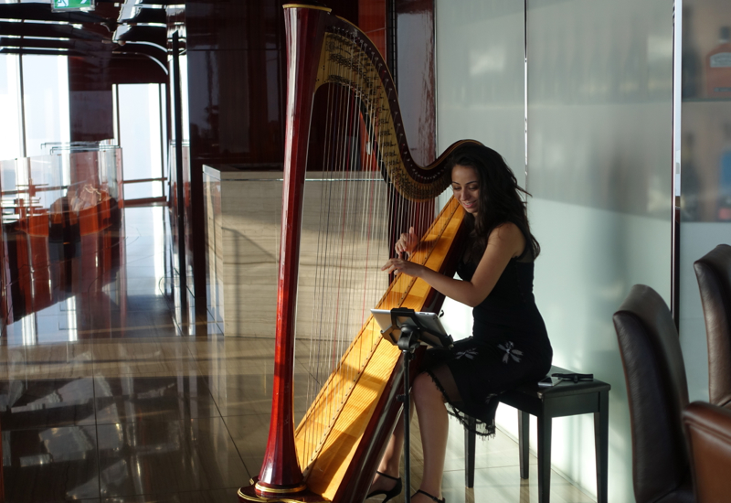 Harpist at Afternoon Tea, Atmosphere Lounge Dubai