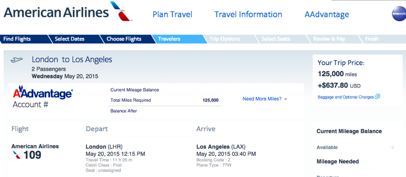 American New First Class Awards Available Los Angeles To