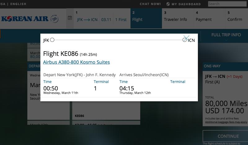 Book Korean Air First Class Awards Online with SkyPass Miles