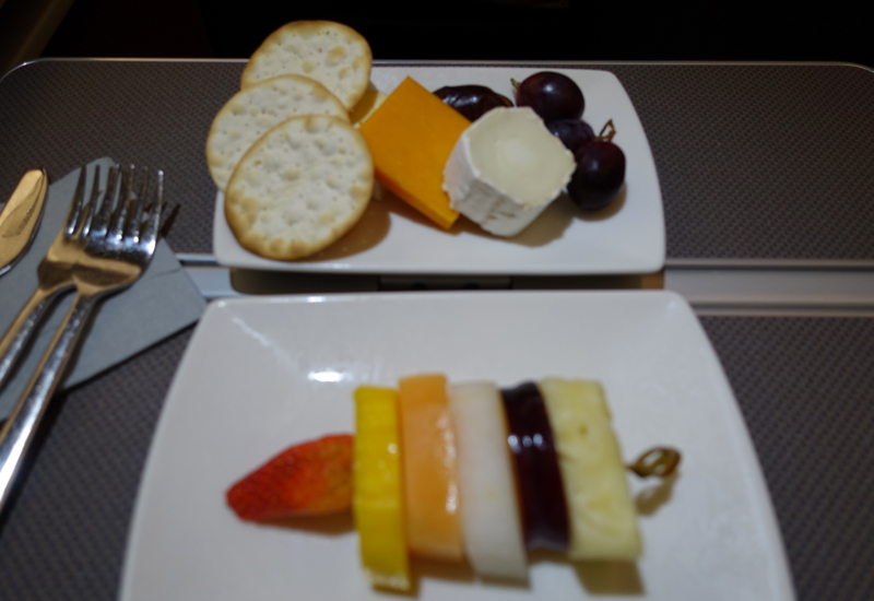 Cathay Pacific Business Class Review A330-Cheese Plate and Fruit Plate