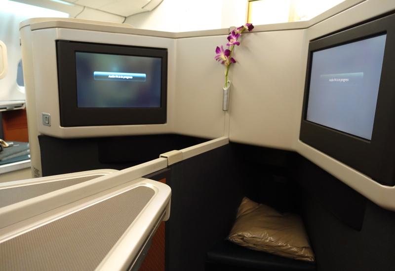 Cathay Pacific Business Class Review A330 - IFE Screens and seat ottoman